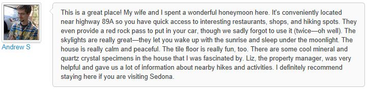 Review of My Sedona Place, by Andrew S - 3 out of 3 Stars