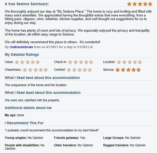 Review of My Sedona Place, by Deborha K - 5 out of 5 Stars