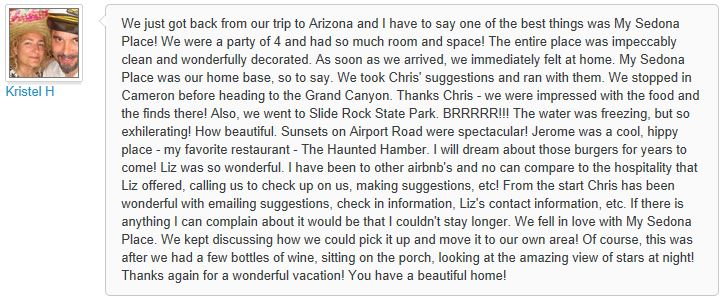 Review of My Sedona Place, by Kristel H - 3 out of 3 Stars