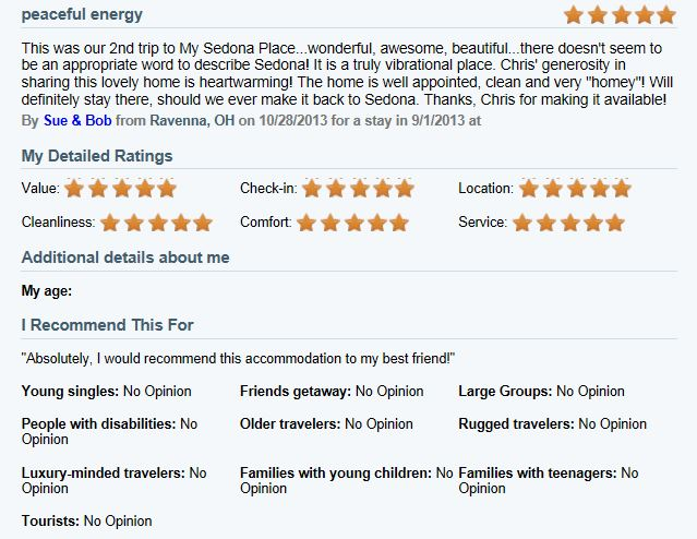 Review of My Sedona Place, by Sue K - 5 out of 5 Stars