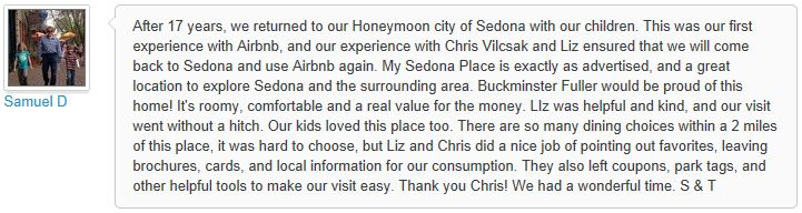 Review of My Sedona Place, by Sam D - 3 out of 3 Stars