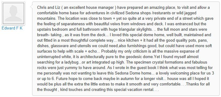 Review of My Sedona Place, by Edward F - 3 out of 3 Stars