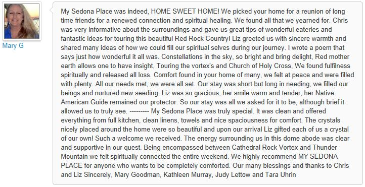 Review of My Sedona Place, by Mary G - 3 out of 3 Stars