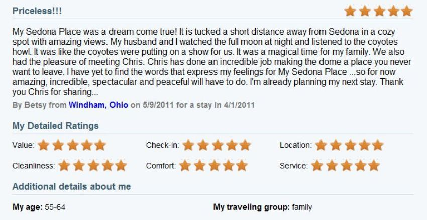 Review of My Sedona Place, by Betsy & Cliff M - Five Stars