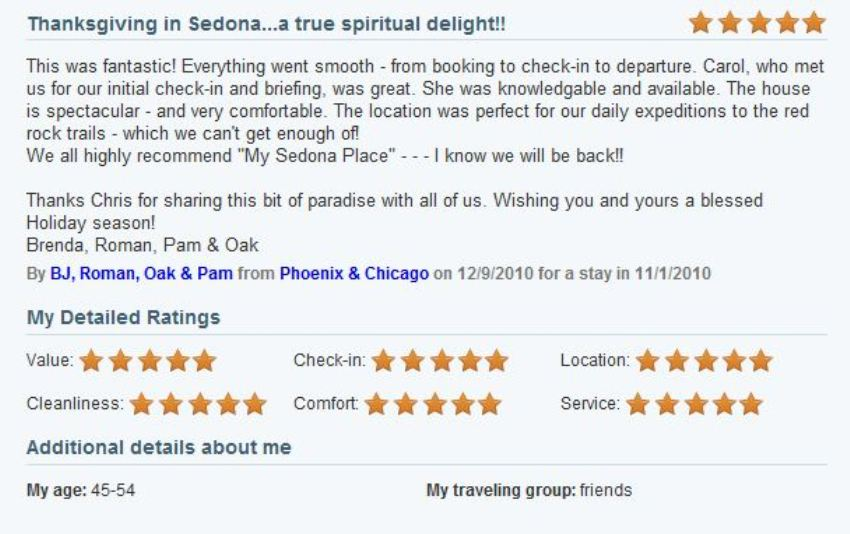 Review of My Sedona Place, by Brenda H - Five Stars