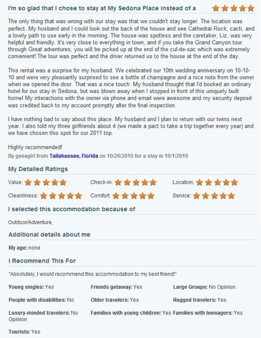 Review of My Sedona Place, by Karen I - Five Stars