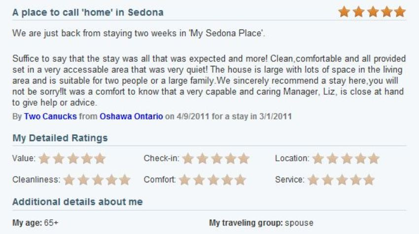 Review of My Sedona Place, by Les H - Five Stars