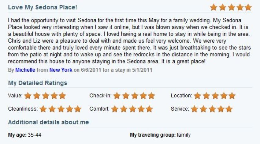 Review of My Sedona Place, by Michelle K - Five Stars