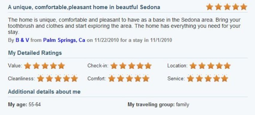Review of My Sedona Place, by Robert B - Five Stars