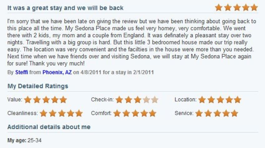 Review of My Sedona Place, by Steffi Z - Five Stars